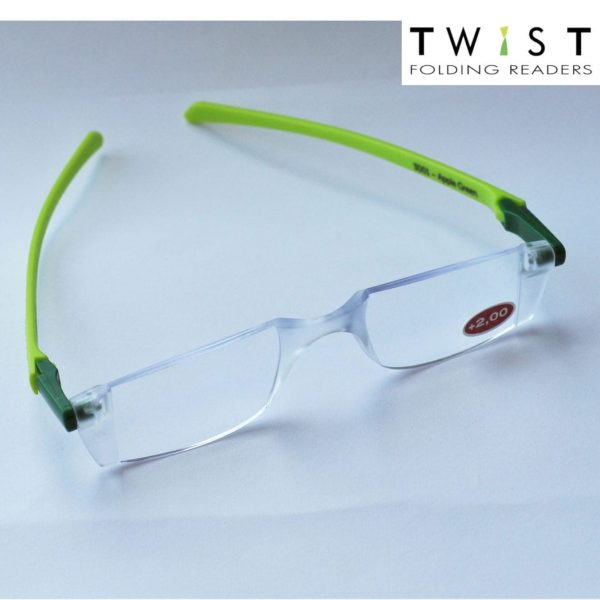 TWIST Folding Readers (green clip & light green arms)