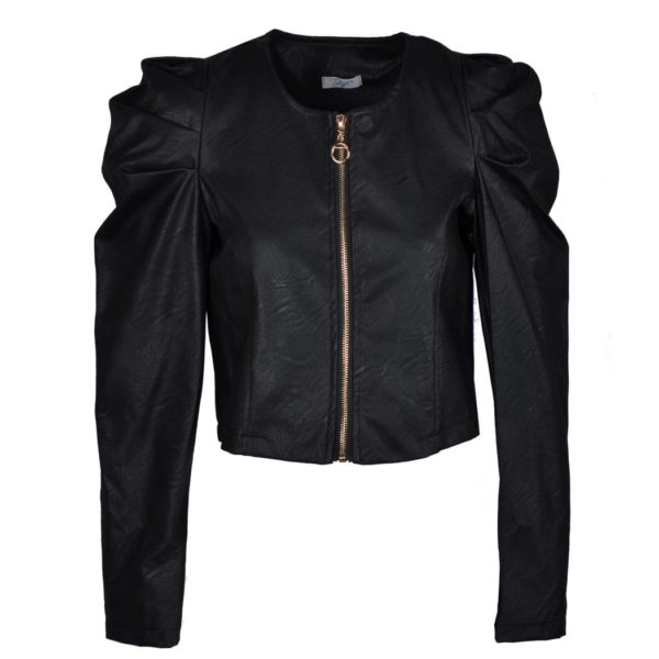 Leatherette puff sleeve jacket