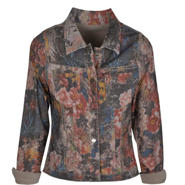 Blueberry flower reversible print jacket