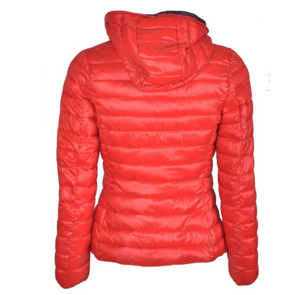 Hooded striped lining puffer jacket