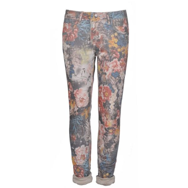 Reversible blueberry floral jeans