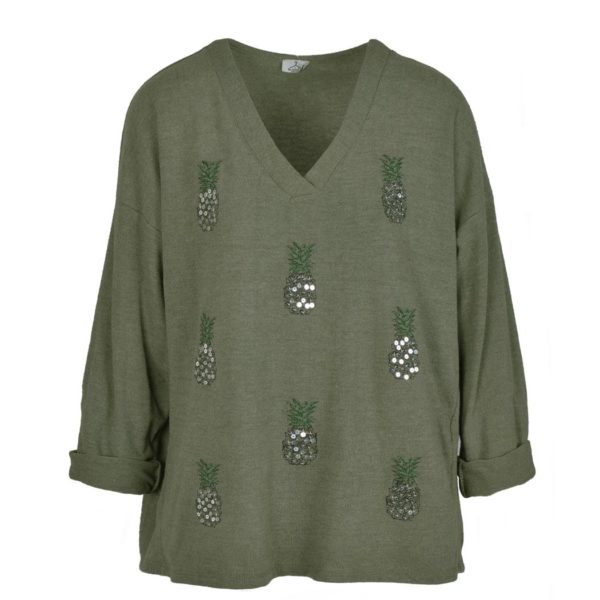Sequin pineapple knit top