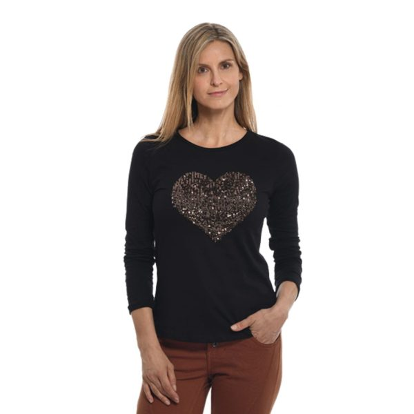 Sequin heart motif top