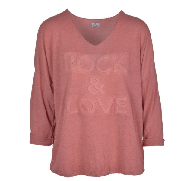 Debossed lurex trim rock & love top