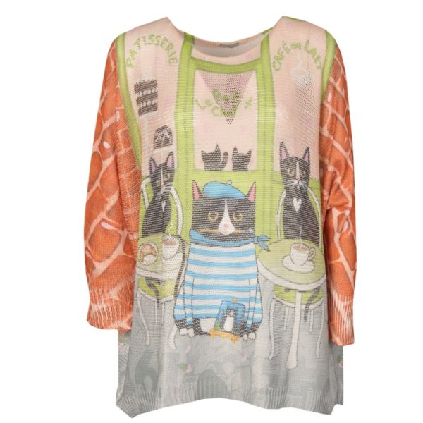 Cat print over-sized knit top