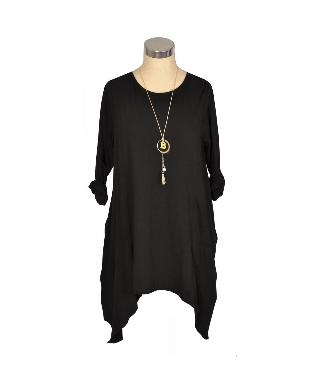 Hi-lo panel tunic dress with necklace