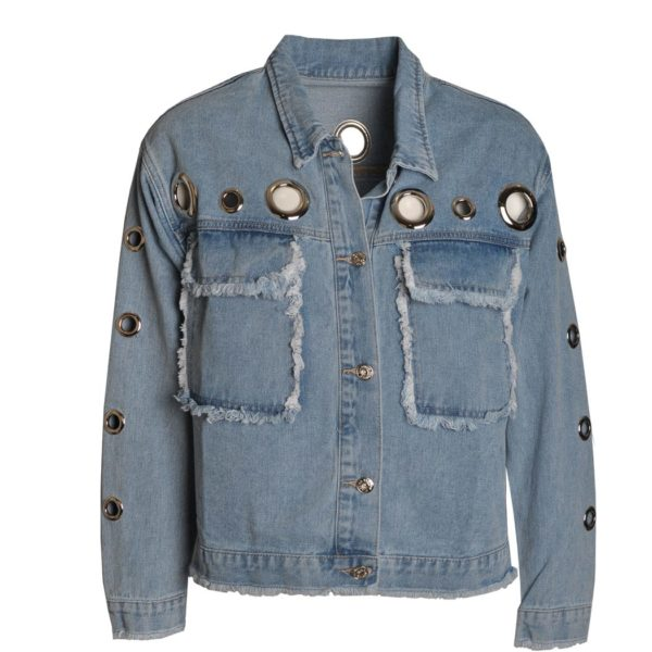 Boxy giant eyelet boxy denim jacket