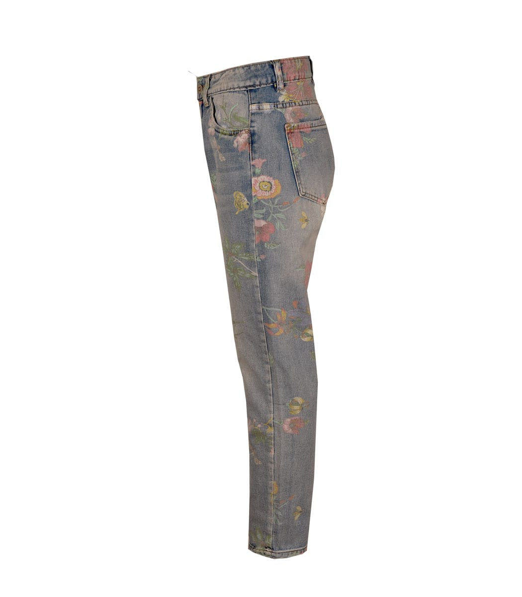 Hibiscus floral print jeans