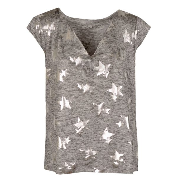 Silver star print top