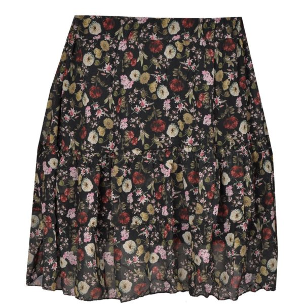 Tiered floral mini skirt