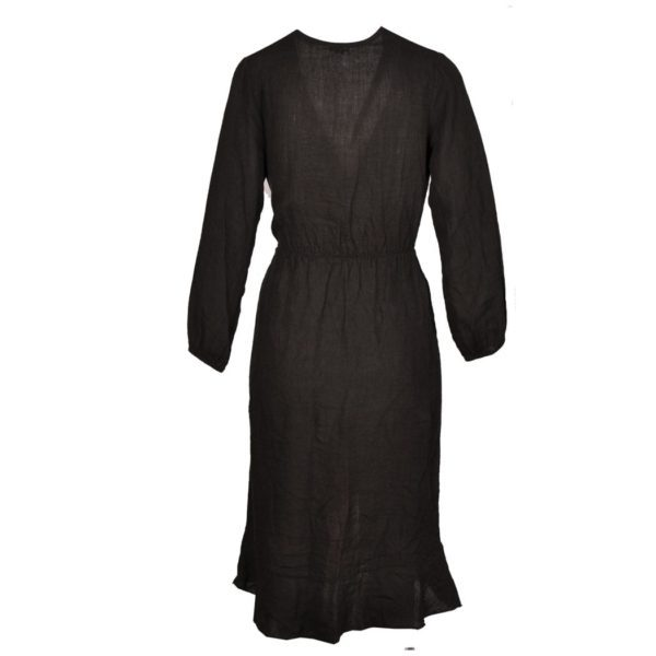Linen mock wrap dress