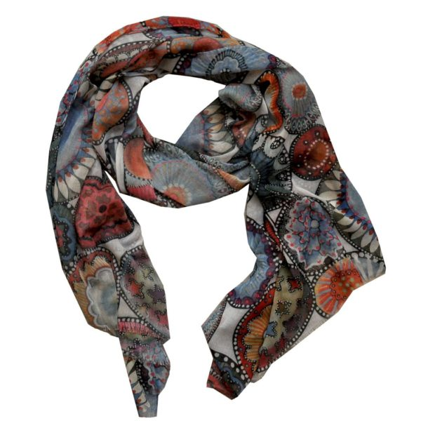 Oblong circle print scarf
