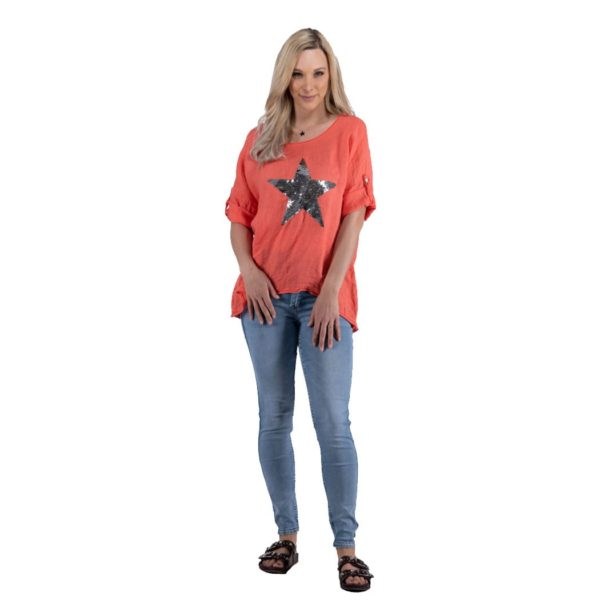 2-Textured sequin star top