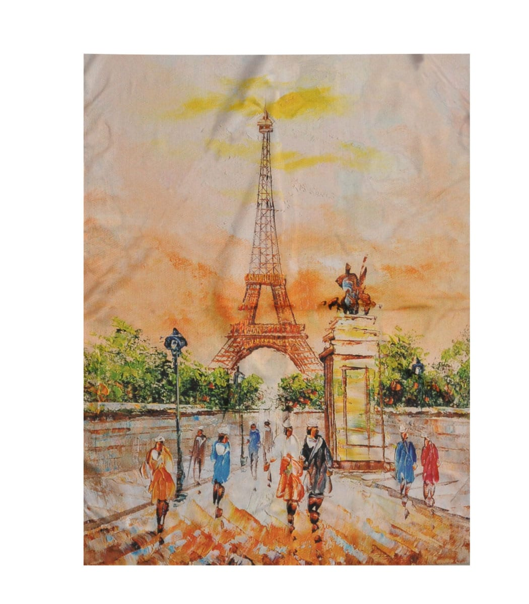 Eiffel Tower oil painting print scarf