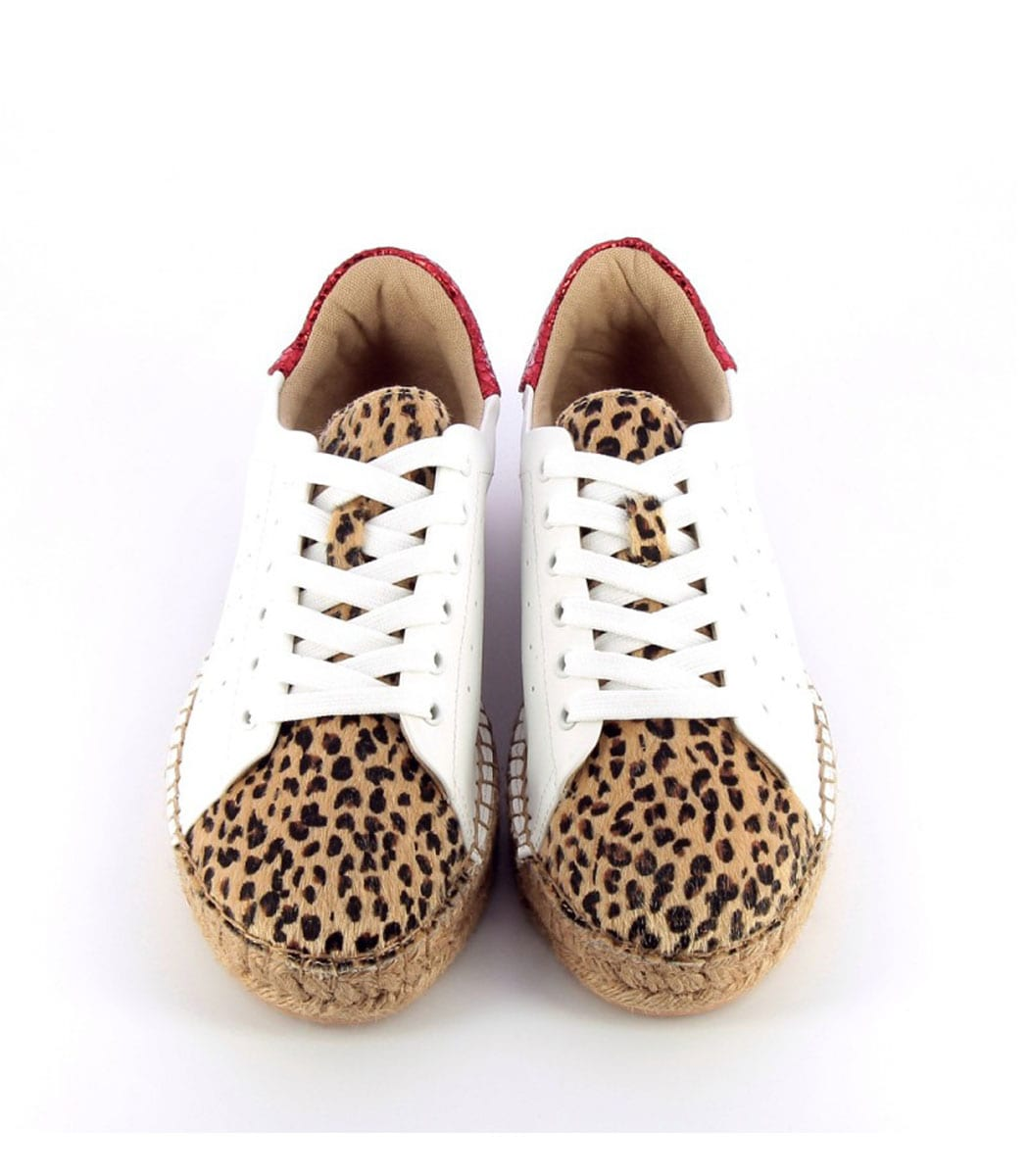 Vanessa Wu animal espadrilles lace up