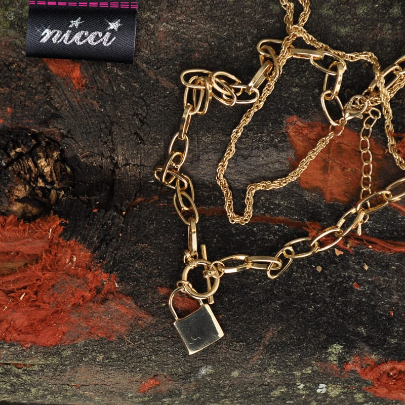 Gold lock double necklace