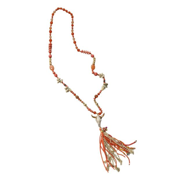 Cow skull/shell tassel necklace