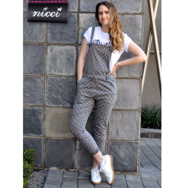 Spotted dungaree pants