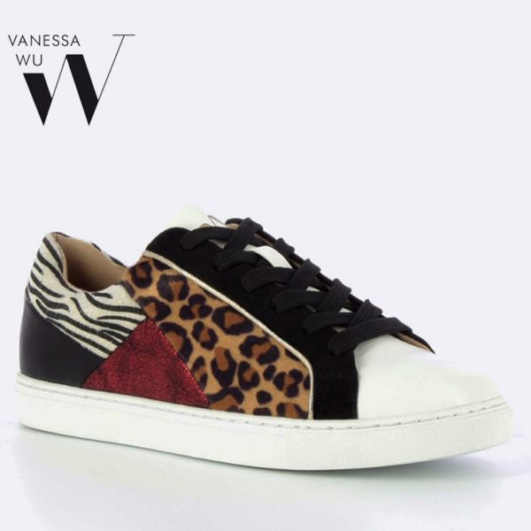 Vanessa Wu patchwork animal sneaker