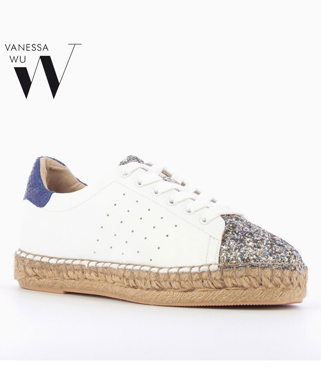 Vanessa Wu blue glitter front espadrilles lace up