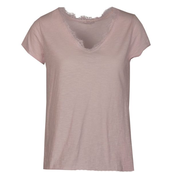 Lace trim v-neck t-shirt