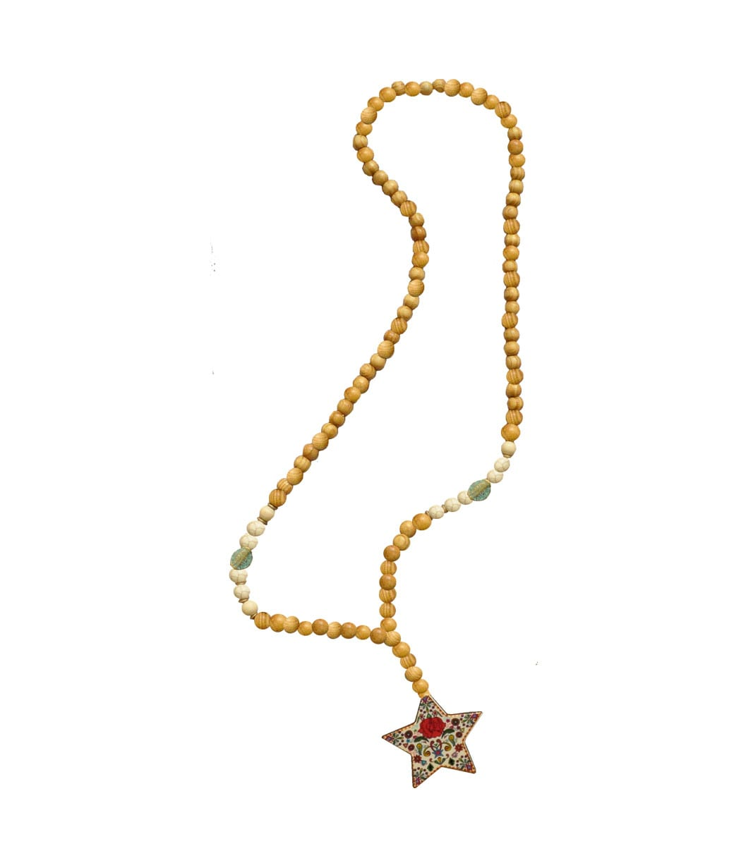 Giant wooden star necklace