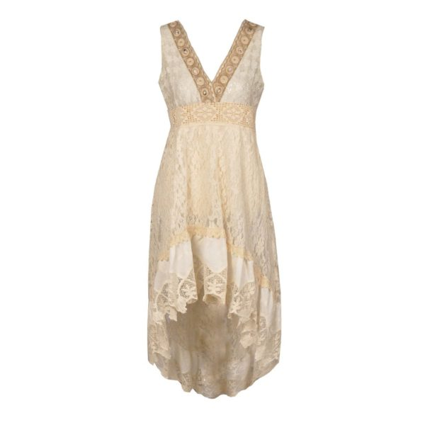 Lace shell hi-lo dress