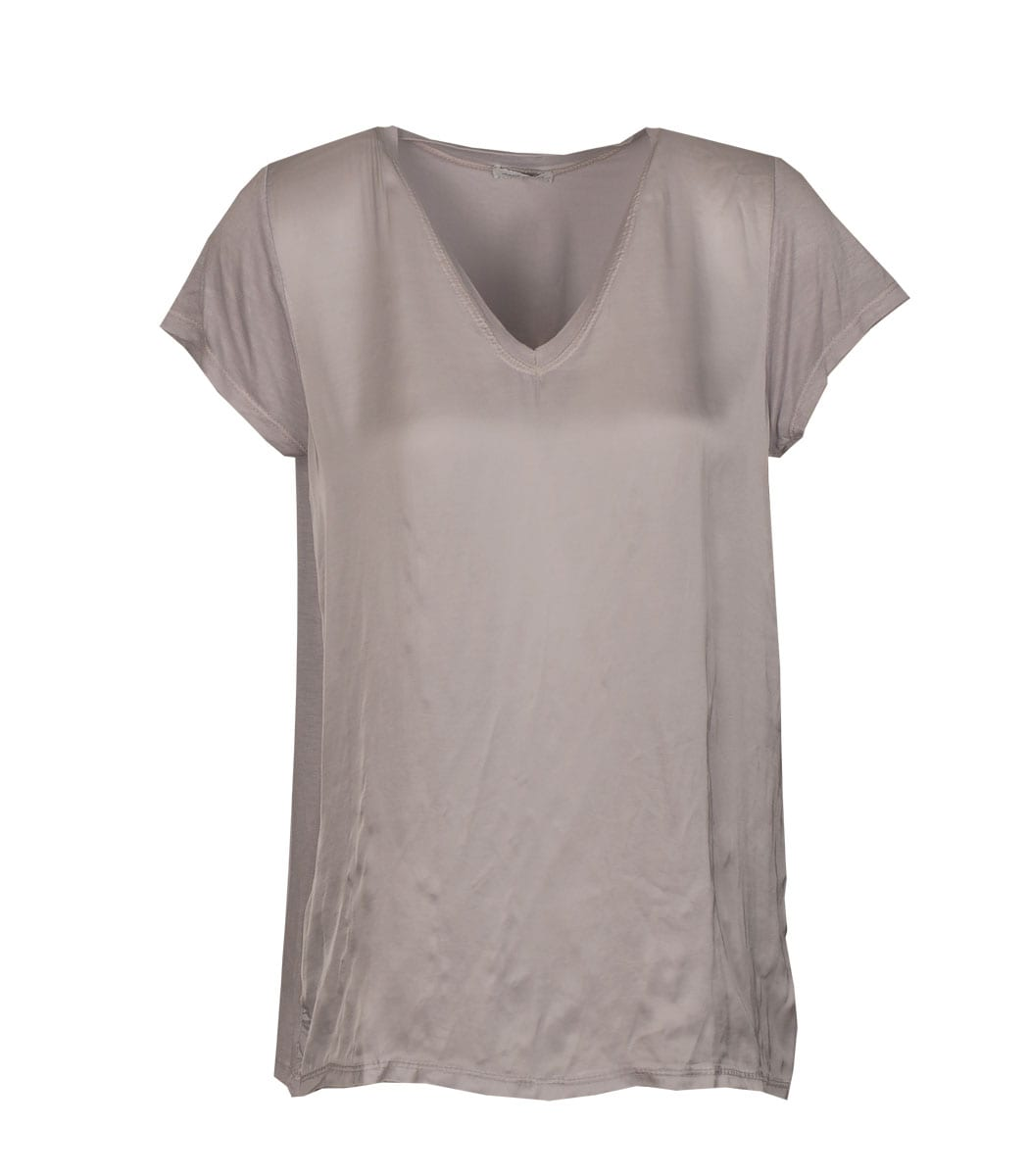Satin front short sleeve v-neck top