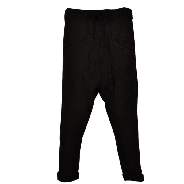 Linen draw-string harem pants