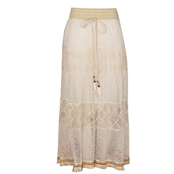 Lace panel maxi skirt