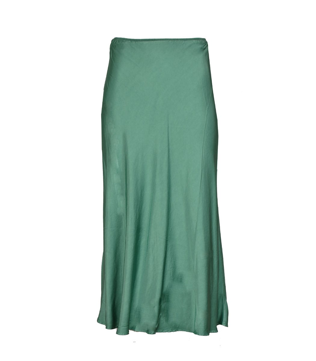 Satin long slip skirt