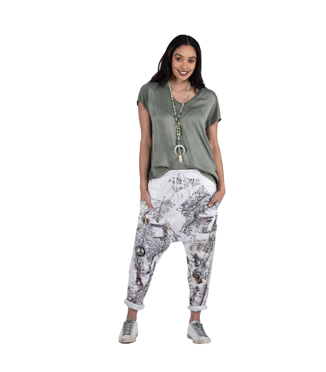 Map print harem pants