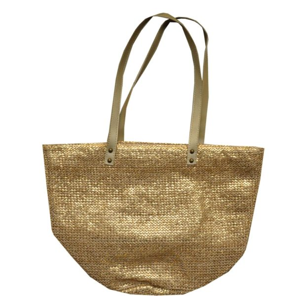 Metallic basket weave bag