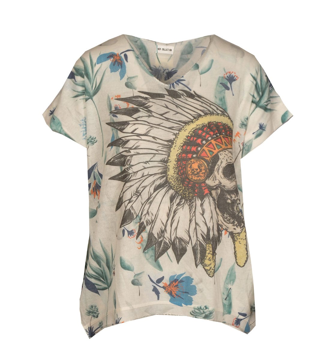 Red indian print top