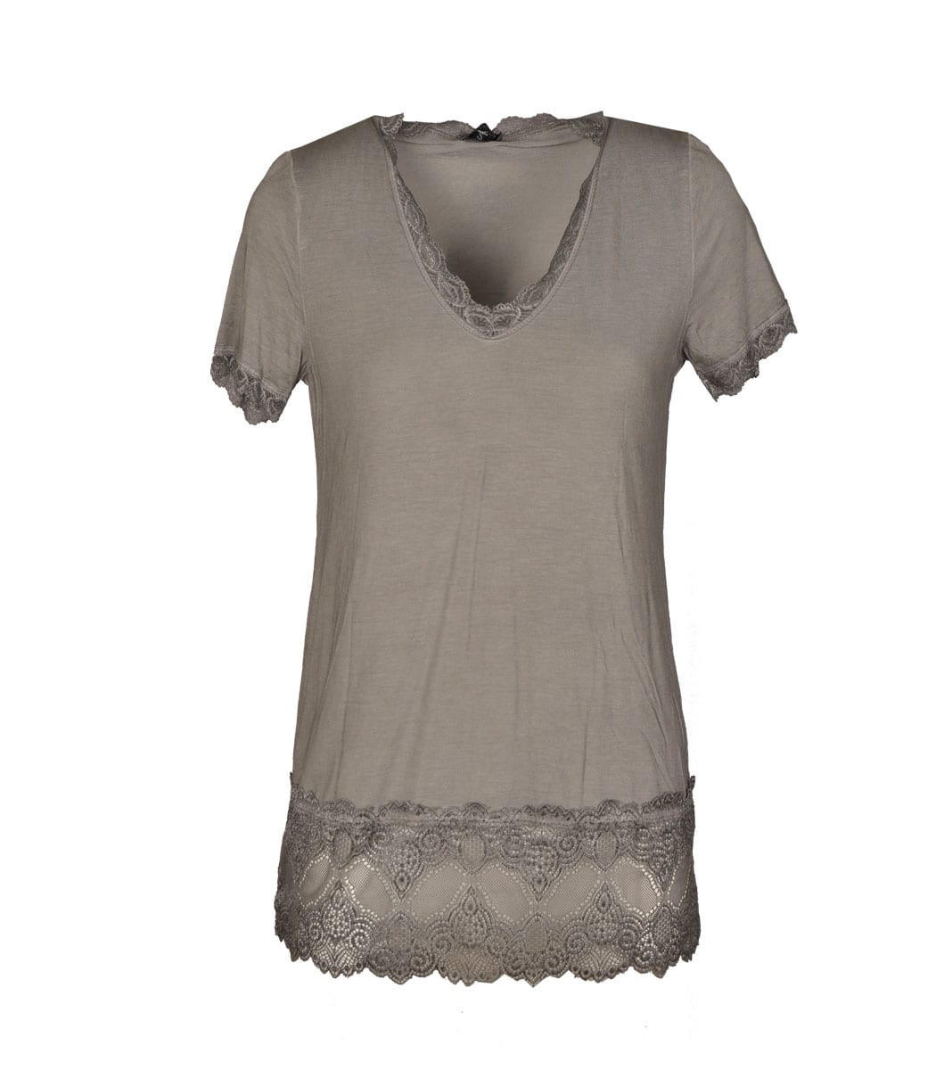 Lace trim v-neck short sleeve top