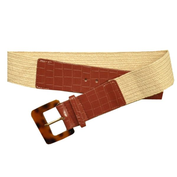 Square buckle elasticated belt