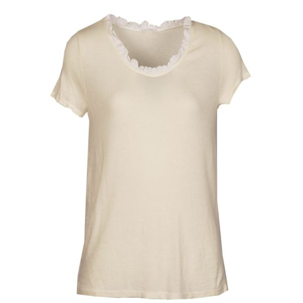 Satin frill v-neck t-shirt