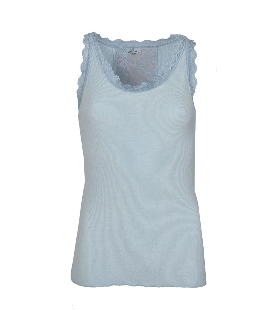 Lace back ribbed vest