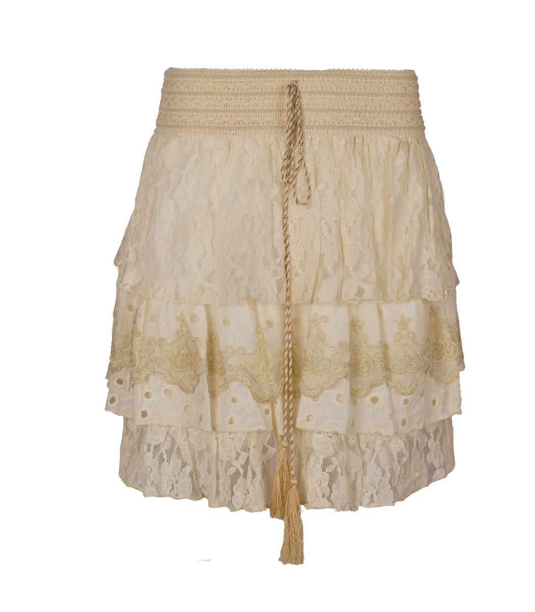 Lace tiered mini skirt