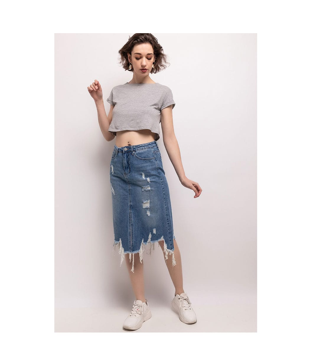 Midi ripped denim skirt