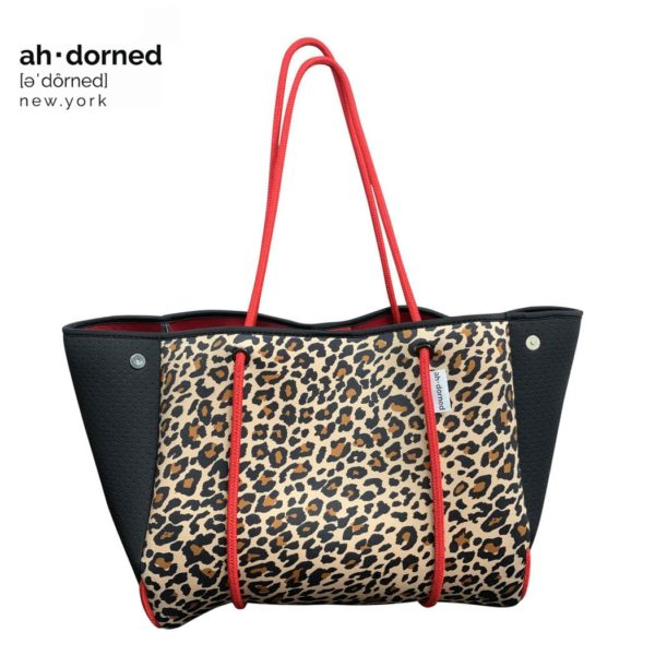 Ah-dorned New York neoprene leopard print bag