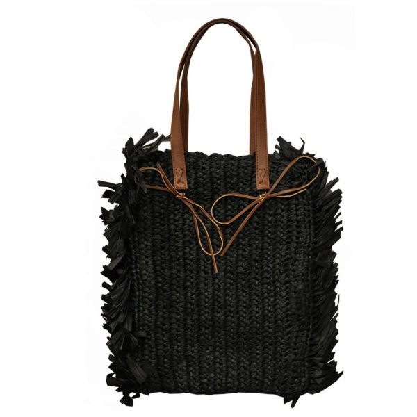 Raffia fringed bag