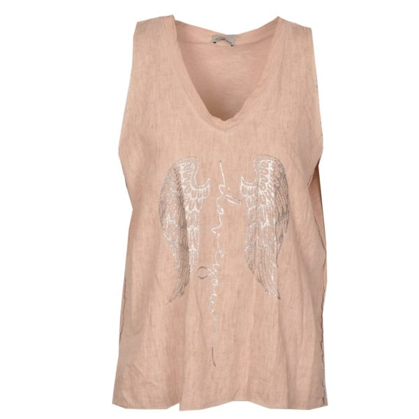 2-Textured silver wings cami