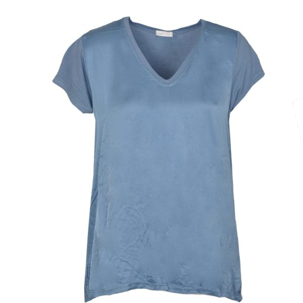 Short sleeve satin front v-neck top
