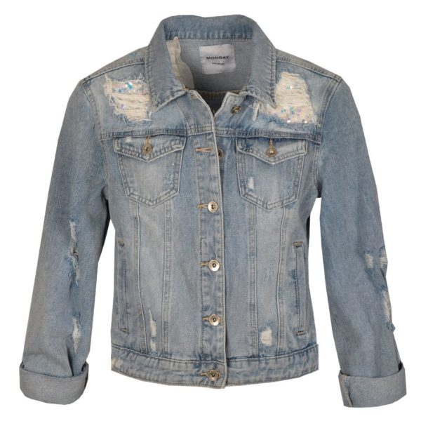Sequin trim ripped denim jacket
