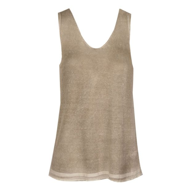 Washed knit sleeveless tank top