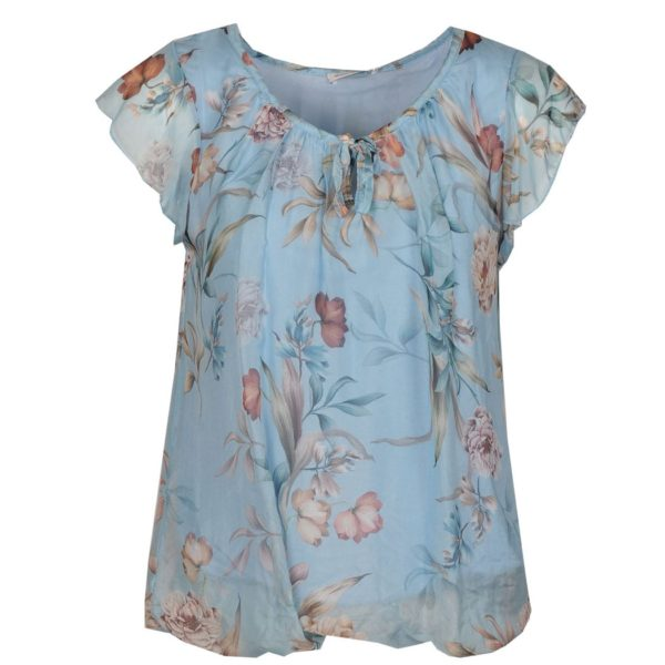 Floral print cap sleeve top