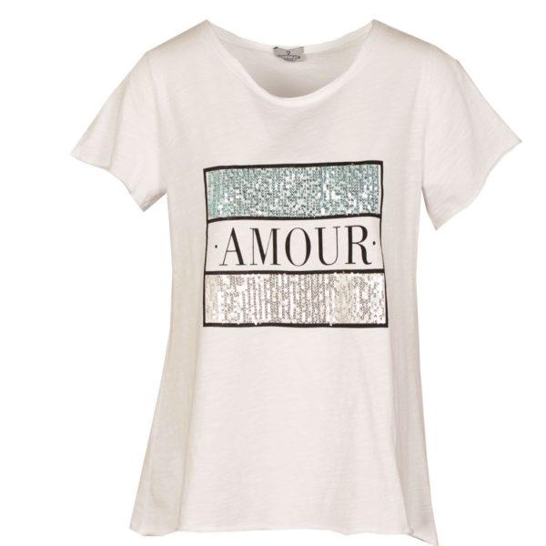 Sequin amour print top