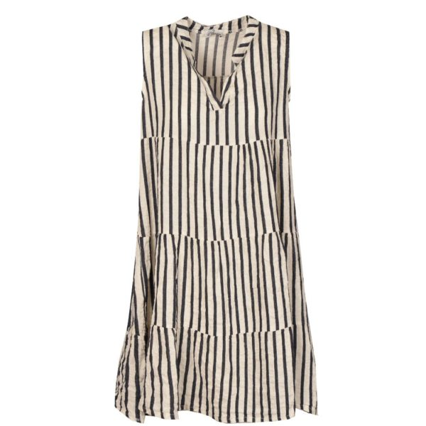 Striped sleeveless tiered dress