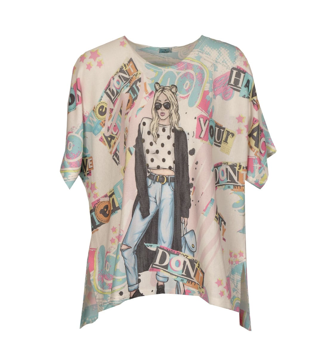 Lady word print oversized top